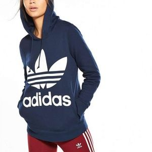 NWT Adidas Trefoil Hoodie Navy Blue XL